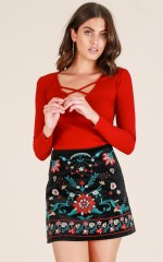 Im Worth It skirt in black embroidery