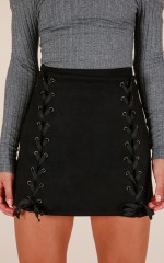 Inside Voices skirt in black suedette