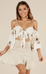 Pretty Baby crop top in white floral