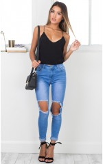 Courts skinny jeans in mid wash denim