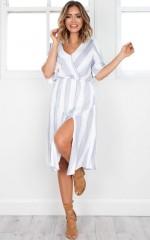 Freelance dress in light blue stripe