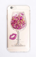 Friday Night Wine iphone cover in pink and gold glitter - 6