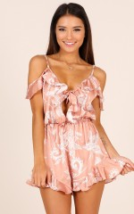 How You Know playsuit in mocha print