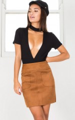 Level Headed Skirt in tan suedette