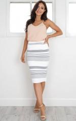 Love Pearls skirt in grey stripe