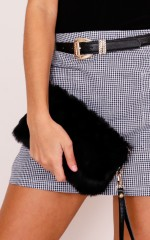 Like You Do faux fur clutch in black