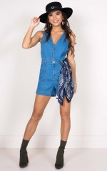 Moving Forward denim playsuit in mid wash
