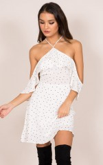 Dramatise Dress in white polkadot