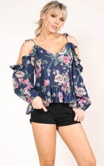 Palm Bay top in navy floral