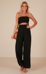 Cut The Rope jumpsuit in black linen look
