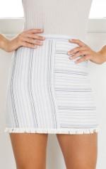 Snap Me Up skirt in blue stripe