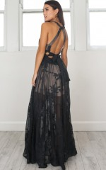 The Wanderer maxi dress in black lace
