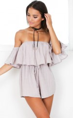 You Bring Me Joy playsuit in taupe
