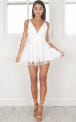 Down For The Night playsuit in white lace