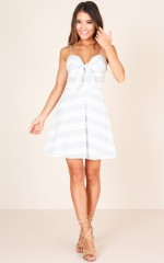 Tripping Through Love dress in blue stripe