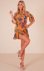 Power Move dress in mustard floral