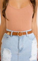 Viral belt in tan and gold