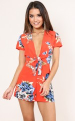 Visions Of Love playsuit in red floral