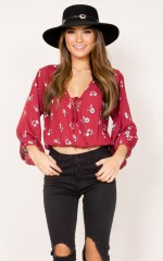 Walk Away top in wine floral
