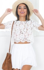 Winter Rain top in white lace