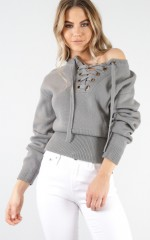 Without you knit jumper in grey