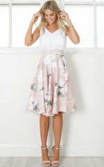 Whirlwind midi skirt in blush floral
