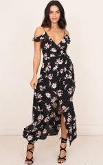 You Like Me Too Much maxi dress black floral