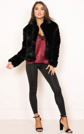 Harlow faux fur coat in black