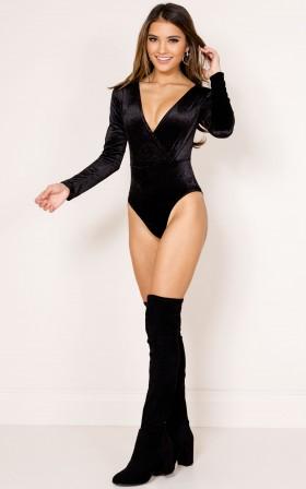 Be The One bodysuit in black velvet