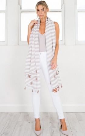 Beachside scarf in mocha stripe