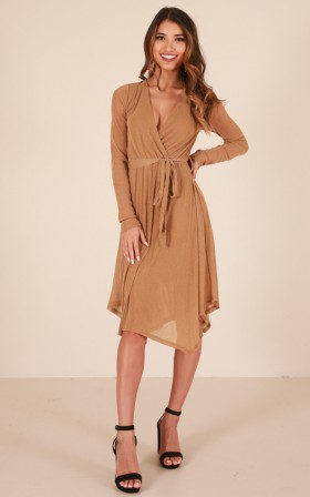 Bells Are Ringing dress in taupe