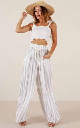 Coming To The End pants in cream stripe