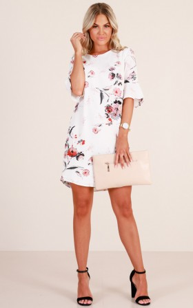 Eastern Sun shift dress in  ivory floral