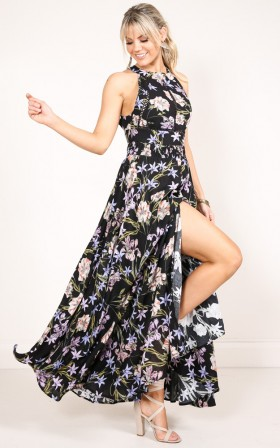 Run Alone Maxi Dress in purple floral