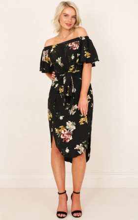 Snow Bird dress in black floral