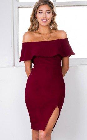 Falling Hard dress in wine