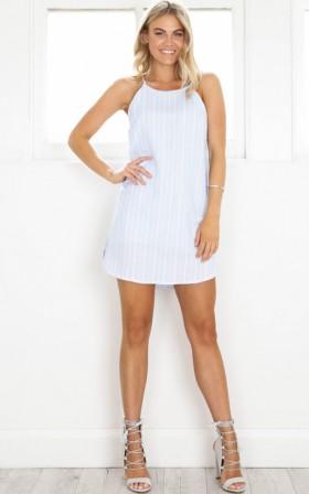 Loveheart Eyes dress in blue stripe