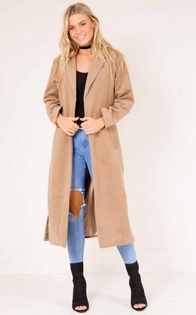 Just In Case coat in camel