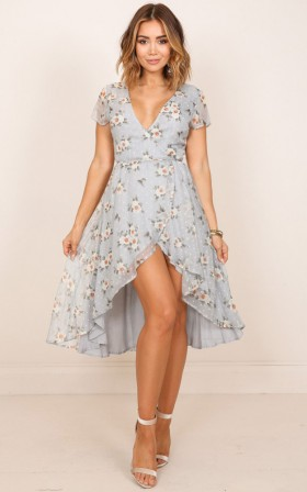 Bright Spirit dress in blue floral
