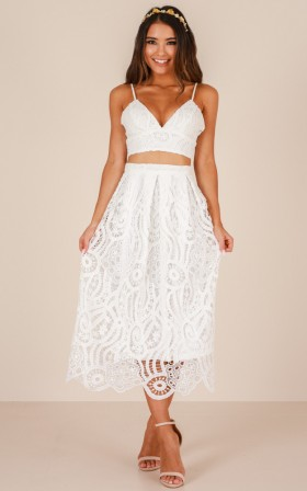 Wherever You Go two piece set in white crochet