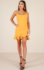 Way Out dress in mustard