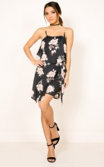 Coastline dress in black floral
