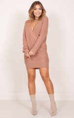 Unwritten knit dress in tan