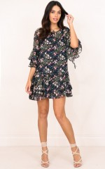 New Blooms dress in navy floral