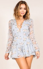 Kiss Me Sweet playsuit in blue floral