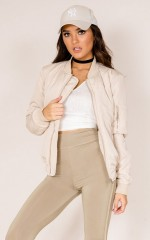 Believe In Me bomber jacket in beige