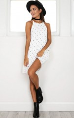 This Is It Dress in white polkadot