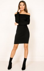 Warm Hearts Knit Dress in black