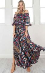 Leah Maxi Dress in navy print