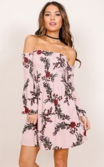 Always Waiting dress in mauve print